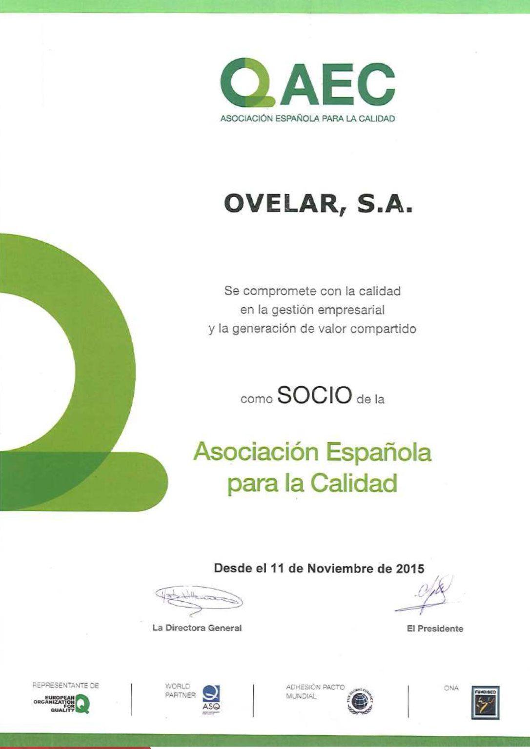 Certificados de calidad - Ovelar Retail